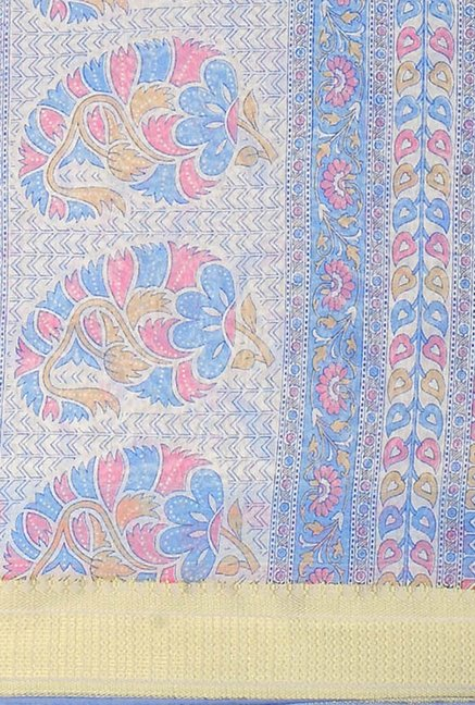 Triveni Blue Printed Blended Cotton Saree