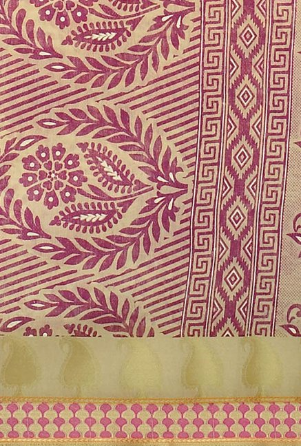Triveni Burgundy Printed Blended Cotton Saree