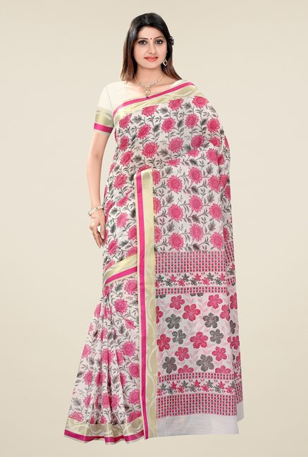 Triveni Pink Floral Blended Cotton Saree