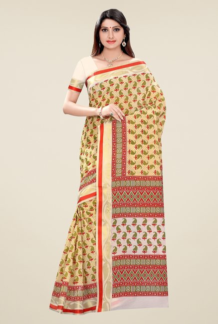 Triveni Yellow Paisley Blended Cotton Saree