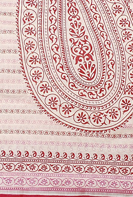 Triveni Beige Paisley Blended Cotton Saree