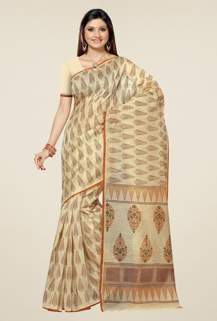Triveni Beige Printed Blended Cotton Saree
