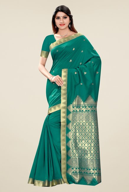 Triveni Green Printed Art Silk Saree