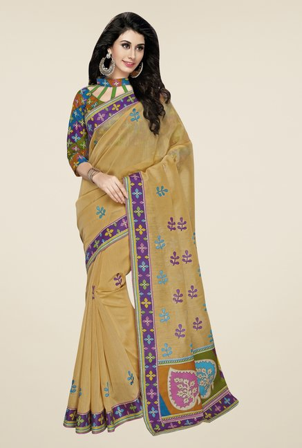 Triveni Beige Embroidered Blended Cotton Saree