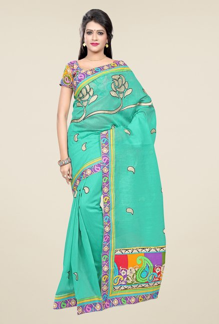 Triveni Turquoise Embroidered Blended Cotton Saree