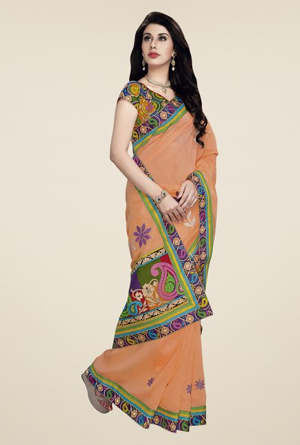Triveni Peach Embroidered Blended Cotton Saree