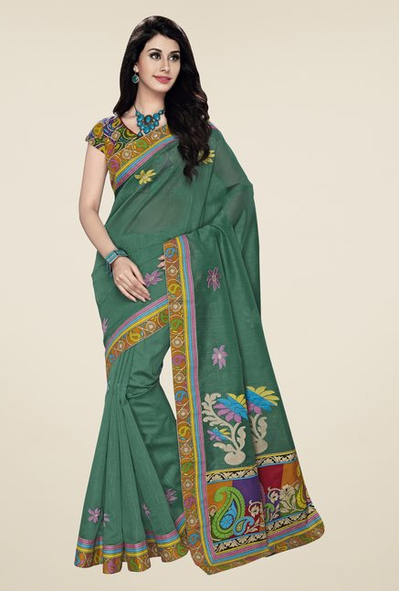 Triveni Teal Embroidered Blended Cotton Saree