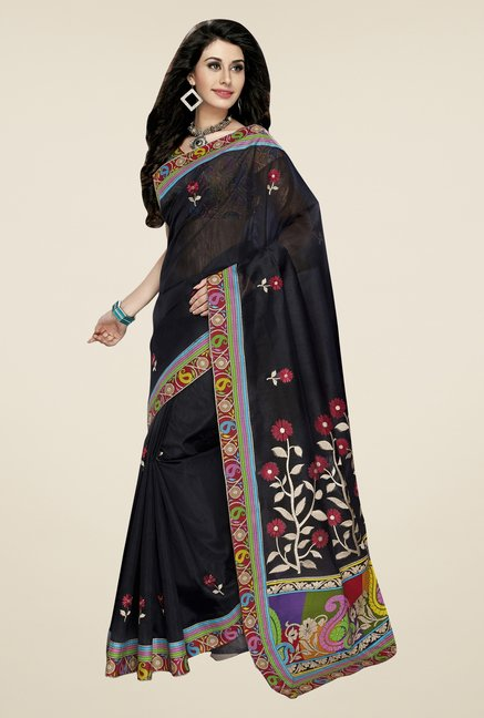 Triveni Navy Embroidered Blended Cotton Saree