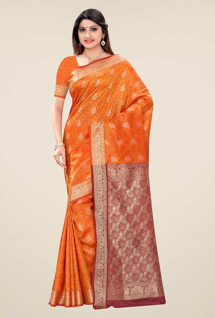 Triveni Orange & Maroon Floral Art Silk Jacquard Saree