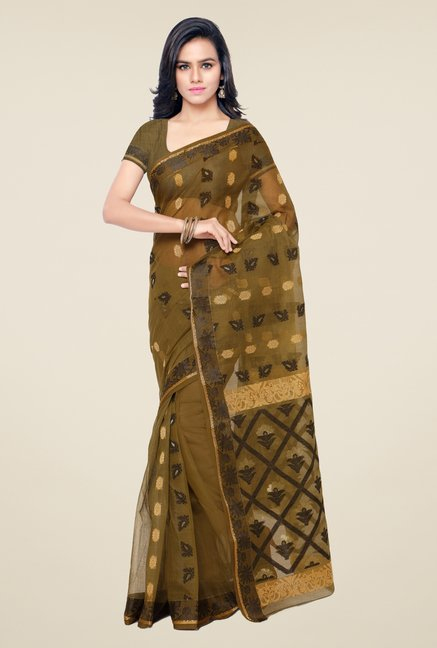 Triveni Green Printed Cotton Saree