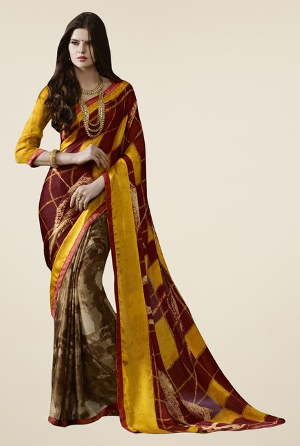 Triveni Brown Printed Satin Chiffon Saree