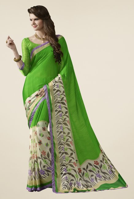 Triveni Green Printed Satin Chiffon Saree