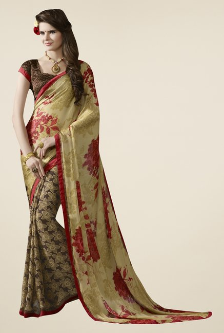 Triveni Brown Printed Satin Saree