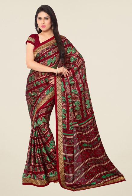 Triveni Maroon Printed Faux Georgette Free Size Saree