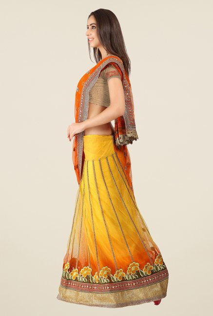 Triveni Yellow Printed Net Lehenga Saree
