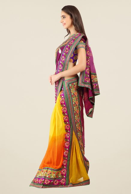 Triveni Yellow Embroidered Faux Georgette Lehenga Saree