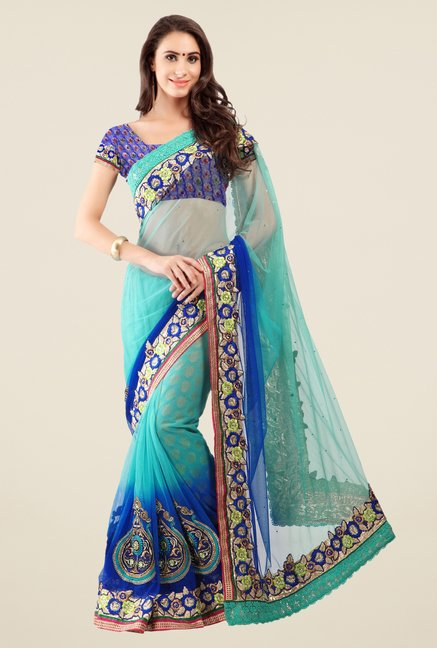 Triveni Blue Embroidered Net Jacquard Saree