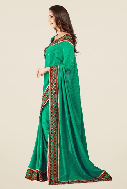 Triveni Green Solid Jacquard Saree