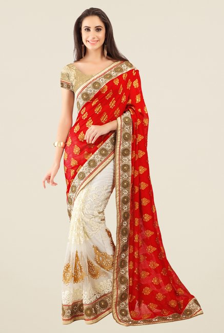 Triveni Off White Embroidered Net Jacquard Saree