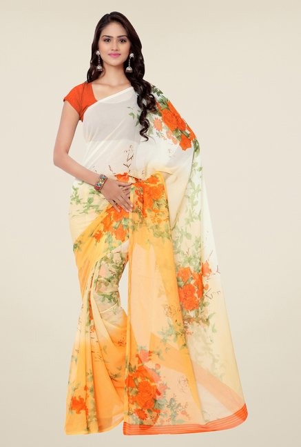Triveni Cream & Orange Floral Faux Georgette Saree