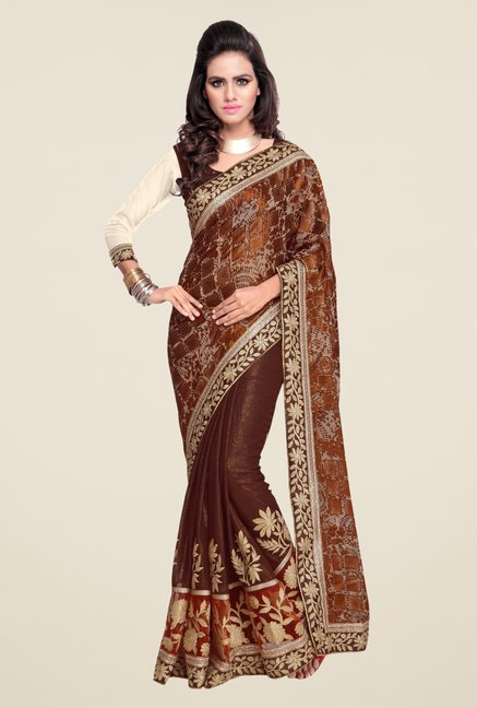 Triveni Brown Embroidered Brasso Shimmer Saree