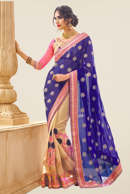 Triveni Beige & Blue Embroidered Faux Georgette Net Saree