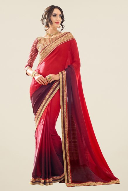 Triveni Maroon & Red Solid Georgette Jacquard Saree