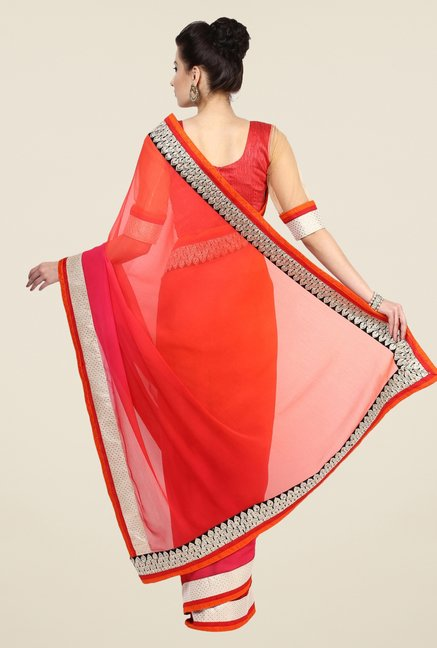 Triveni Orange Solid Faux Georgette Saree