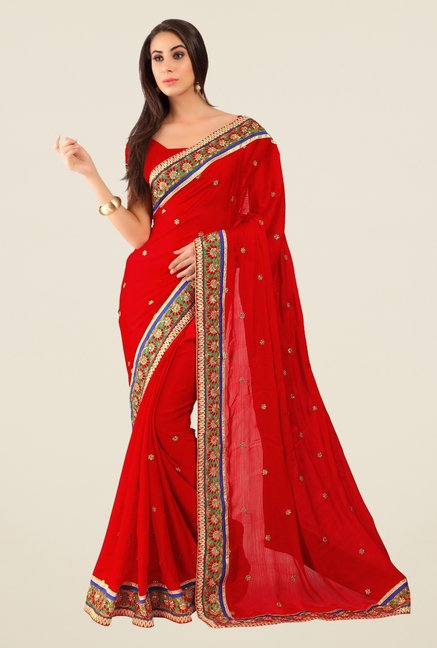 Triveni Red Embroidered Faux Georgette Free Size Saree
