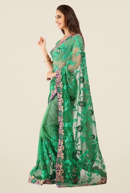 Triveni Green Embroidered Net Saree