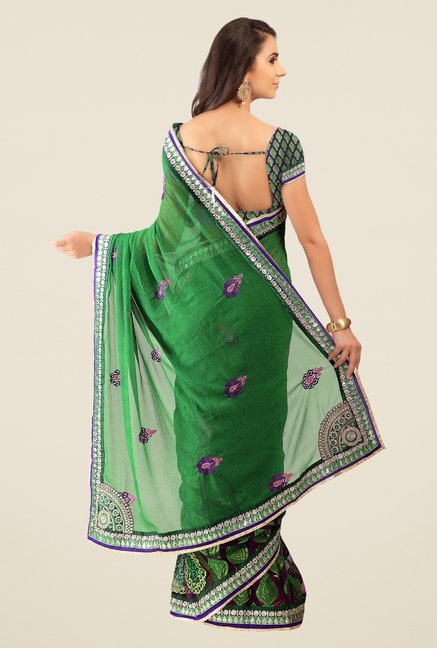 Triveni Green Embroidered Chiffon Brasso Saree