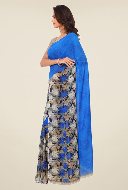 Triveni Blue Floral Faux Georgette Saree