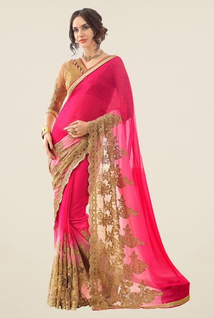 Triveni Magenta Embroidered Faux Georgette Net Saree