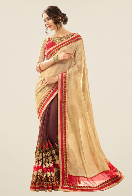 Triveni Brown & Beige Embroidered Georgette Jacquard Saree