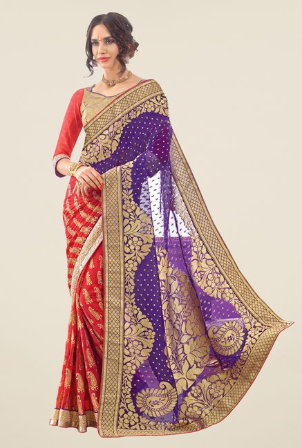 Triveni Red & Blue Embroidered Faux Georgette Saree