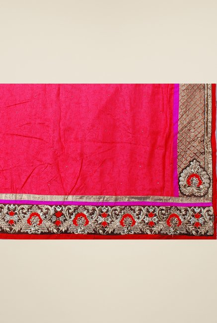 Triveni Brown & Pink Embroidered Georgette Jacquard Saree