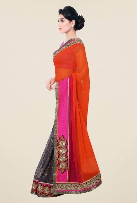 Triveni Grey & Orange Paisley Print Faux Georgette Saree
