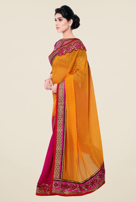 Triveni Pink & Yellow Printed Faux Georgette Saree