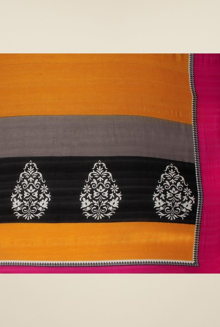 Triveni Grey Printed Art Silk Saree