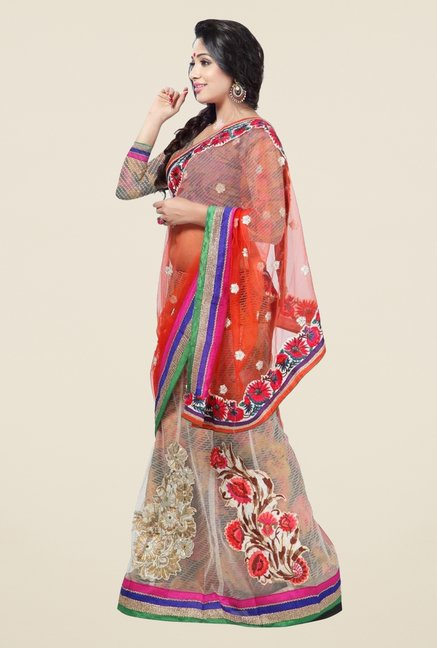 Triveni Multicolor Embroidered Net Brasso Lehenga Saree