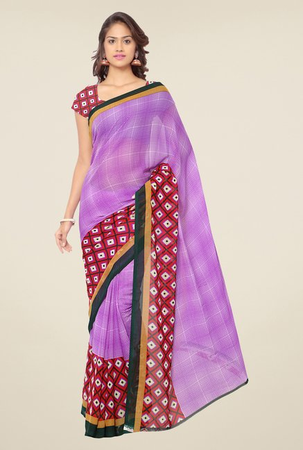 Triveni Purple Printed Faux Georgette Saree