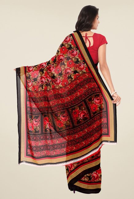 Triveni Red Floral Faux Georgette Saree