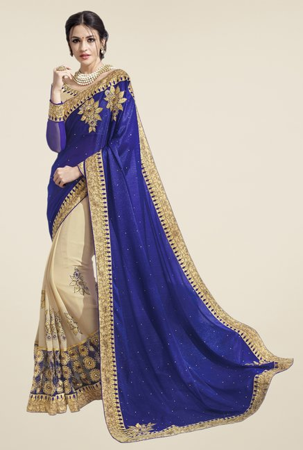 Triveni Blue & Beige Embroidered Chiffon Jacquard Saree