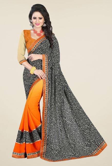Triveni Orange Printed Dry Clean Saree