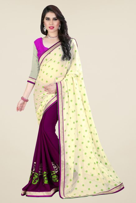 Triveni Purple Printed Georgette Jacquard Saree
