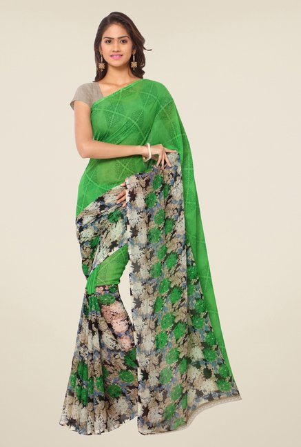 Triveni Green Floral Faux Georgette Saree