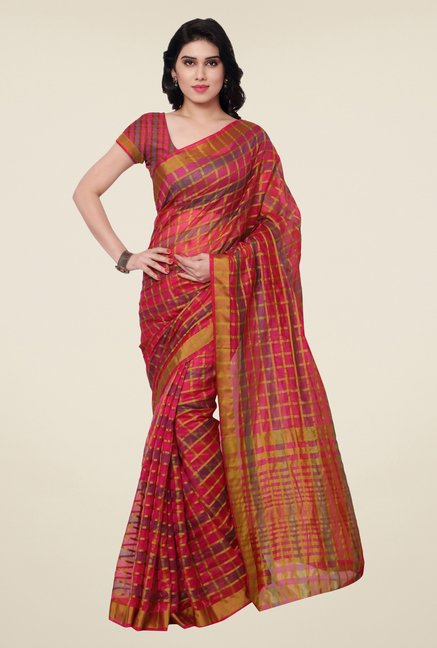 Triveni Red Checks Art Silk Saree