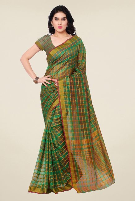 Triveni Green Checks Art Silk Saree