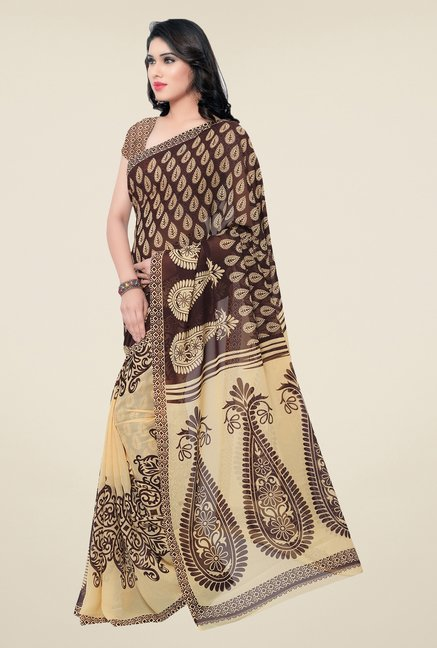 Triveni Brown & Beige Paisley Faux Georgette Saree
