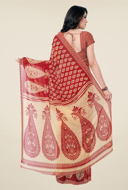 Triveni Red & Beige Paisley Faux Georgette Saree